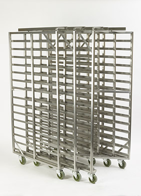 Three Z-FRAME® Double Side Load Nesting Oven Racks nested