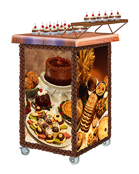 Cake Walker™ Demonstration Cart with Bakery Graphics Panels and Maple block top with cupcakes