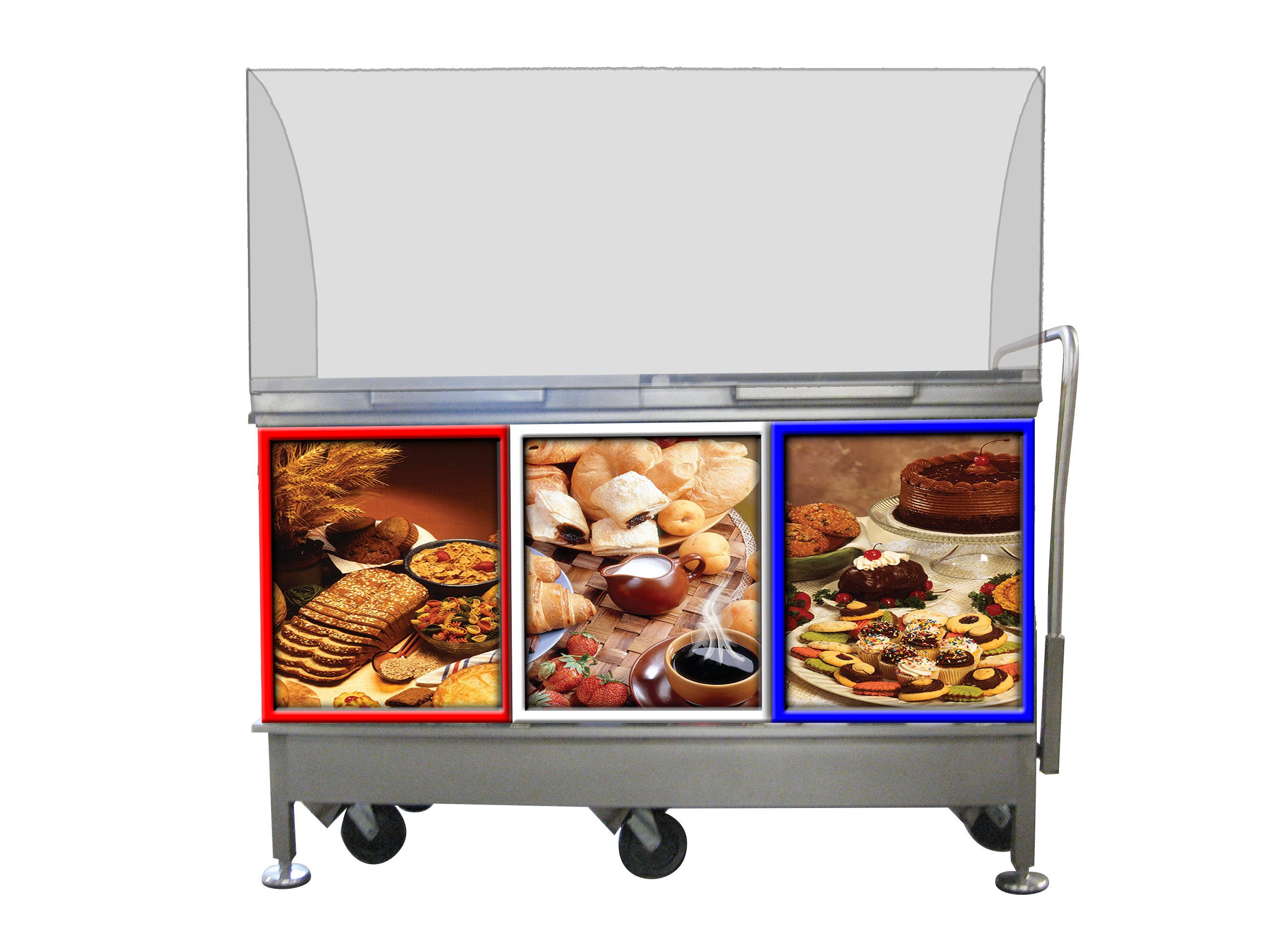 Customer Side of Face to Face Fresh® Mobile Retractable Wheel Demonstration Theatre Demo Cart / Engagement Center® with red, white and blue framed 3-panel bakery graphics