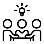 team with lightbulb above - brainstorming