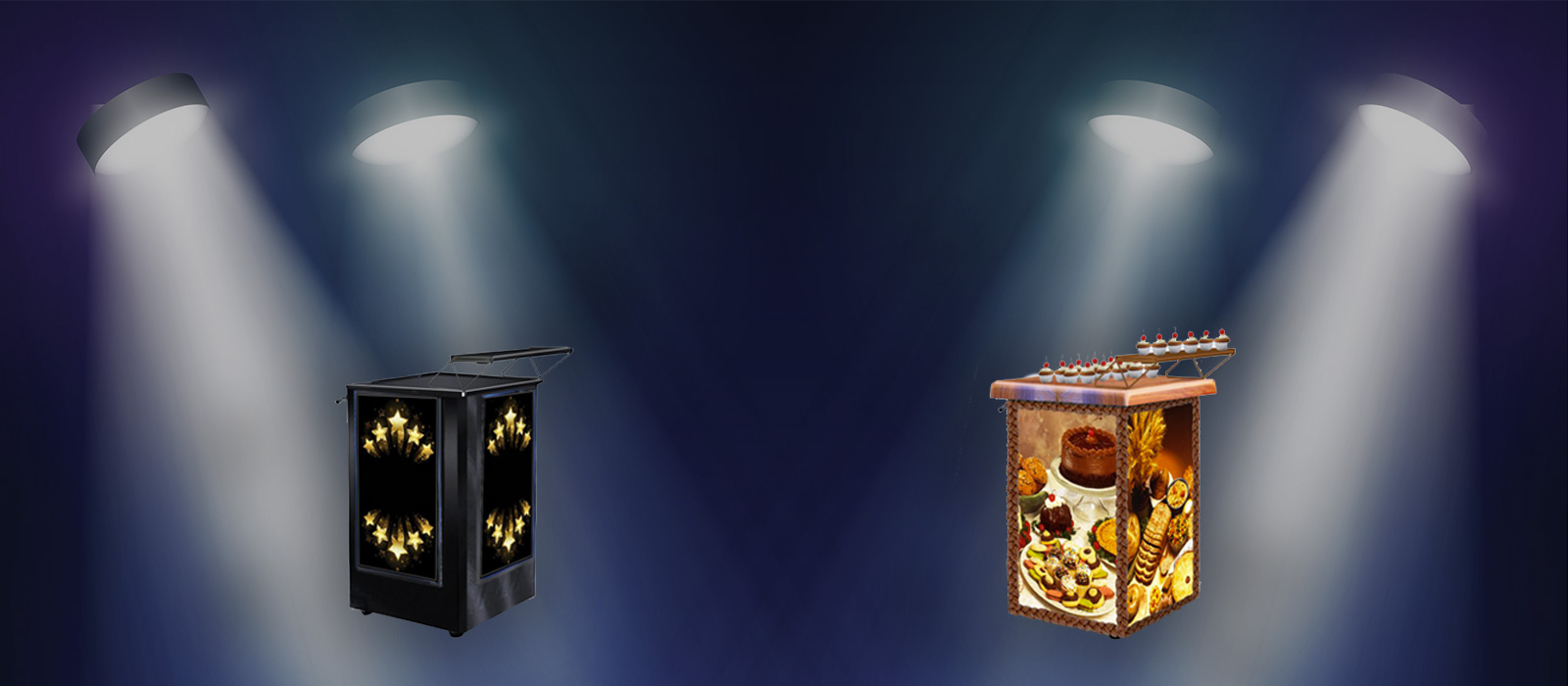 Slider background image with 2 bakery carts under a spotlight
